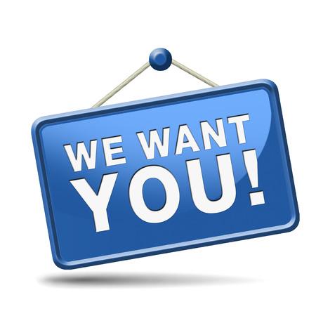 job opening: Queremos bot�n. ayuda oferta de empleo quiso empleados la b�squeda de puestos de trabajo de apertura encontrar trabajadores para las vacantes abiertas Foto de archivo