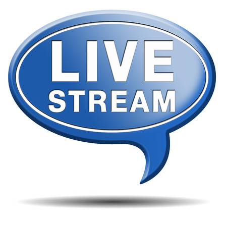 live stream radio: live stream tv music or video button icon or sign live on air broadcasting movie or radio program Stock Photo