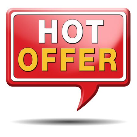 bargain for: hot offer icon or sign for online internet web shop concept. Webshop shopping sales button announcing bargain for low and best price with the best value for you money.  Stock Photo