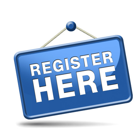 en: register here en no sign or icon. Membership registration sticker.  Stock Photo