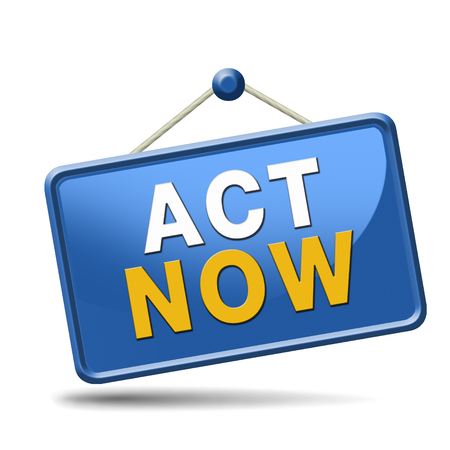 react: time to act and react. The time is now or never. Start the action. Stock Photo