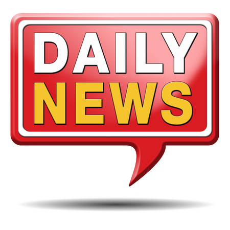 actuality: daily news hot from press breaking latest article icon label sign or sticker  Stock Photo