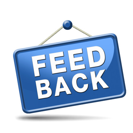 feedback: feedback icon or button for customer surveys and testimonials. Stock Photo
