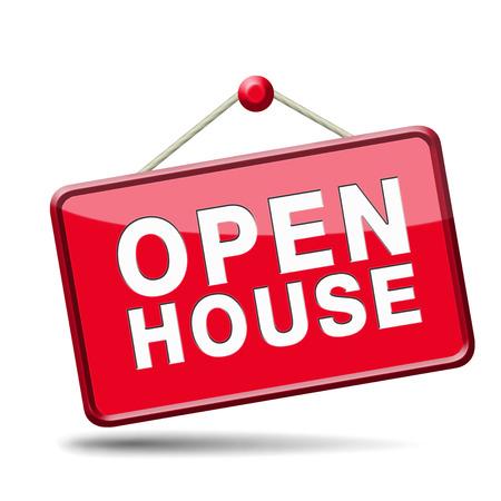 open huis: Open huis teken banner of overbrengen voor het huren of kopen van een nieuw bezoek aan huis van een onroerend goed model huis, rood pictogram Stockfoto