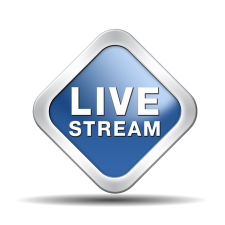 live stream tv music or video button icon or sign live on air broadcasting movie or radio program photo