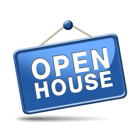 property for sale: Open house icon visit a model house before you buy or rent a new home or other real estate property