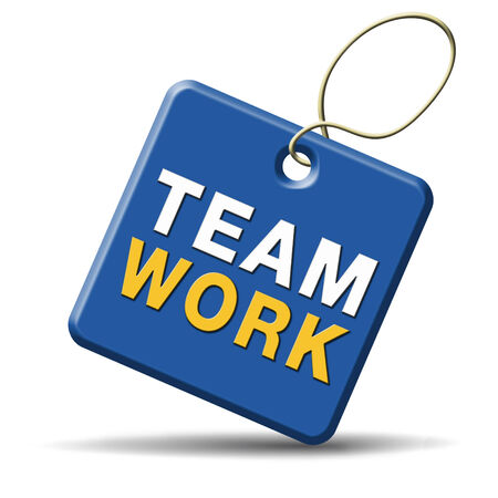 teamwork concept icon, team work and coorperation in partnership working together photo