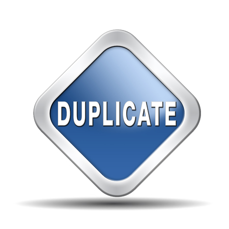 duplicate: duplicate sign or icon double product or document label or button