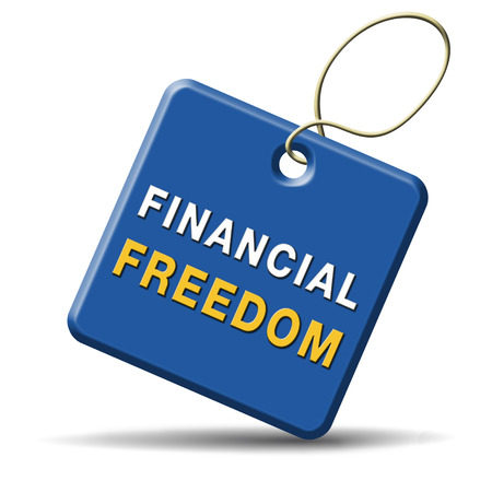 financial freedom and economic independence debt free icon.  photo