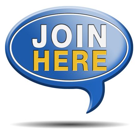 Join today and register here and now banner. Membership icon or registration sign. photo