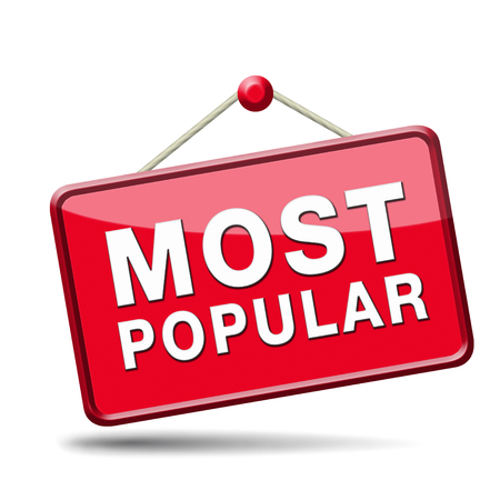 most popular sign popularity label or icon for bestseller or market leader and top product or rating in the charts Stock Photo - 23187065