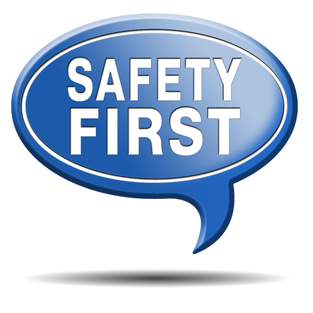 safety signs: safety first rules for security at work and safe and healthy life, risk management icon or banner Stock Photo