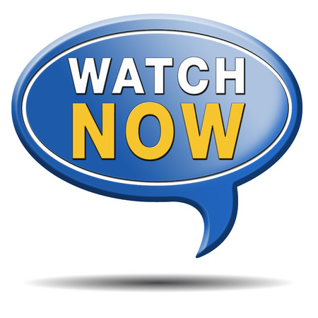 watch video or movie now online icon or button. Play multi media and start watching Stock Photo - 23187095