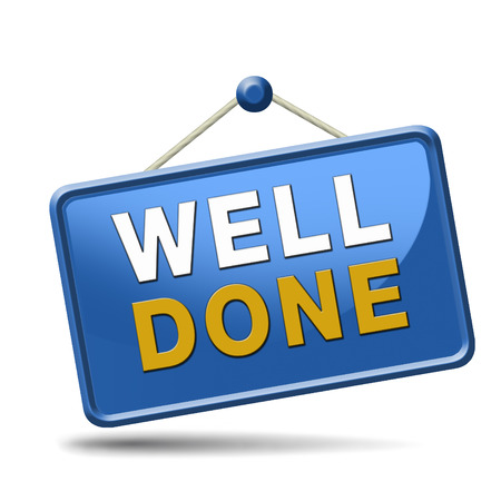 great job: Job very well done and with success. Congratulations sign for a successful finish of a task. blue placard.