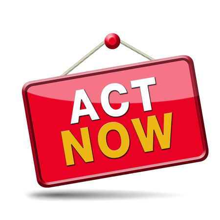 take action: act now or never, time for action. Take the next step and continue the road.  Stock Photo