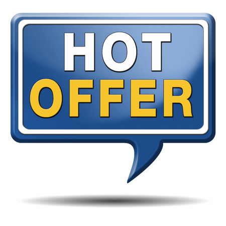 hot offer icon or sign for online internet web shop concept. Webshop shopping sales button announcing bargain for low and best price with the best value for you money.  photo
