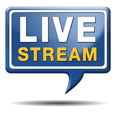 ライブ ストリームのテレビの音楽またはビデオ ボタン アイコンまたは記号空気放送映画やラジオ番組に住んでいます。
