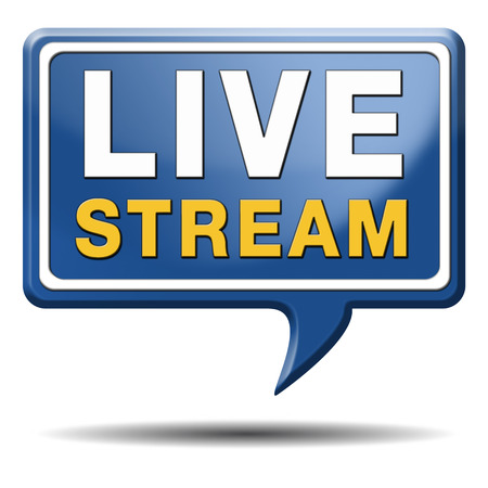 live stream listening: live stream tv music or video button icon or sign live on air broadcasting movie or radio program Stock Photo
