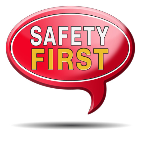señales de seguridad: primero las reglas de seguridad para la seguridad en el trabajo y la vida segura y saludable, icono de la gestión de riesgos o banners