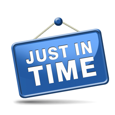 just in time delivery sign or icon under time pressure getting the deadline and being precise on time banner photo