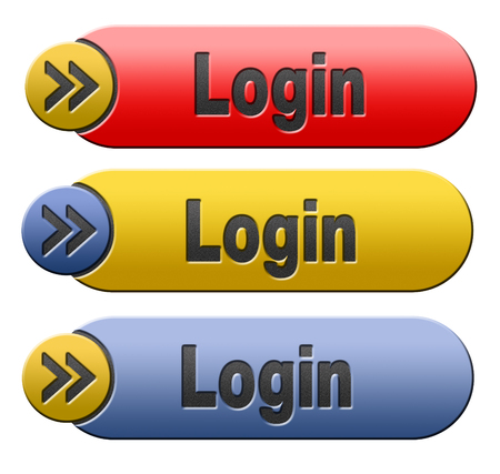 login button: login button or user or member log in banner Stock Photo