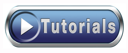 tutorials: tutorial learn online video lesson, blue button banner or icon