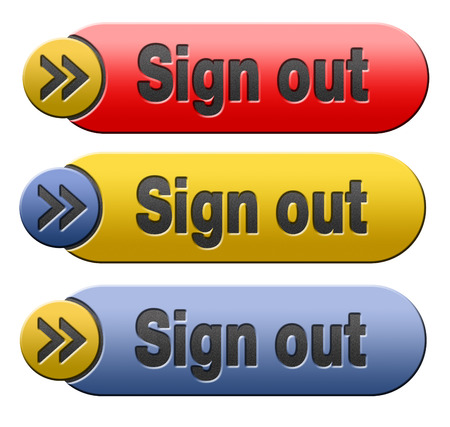 logout: sign out button or user or member logout banner