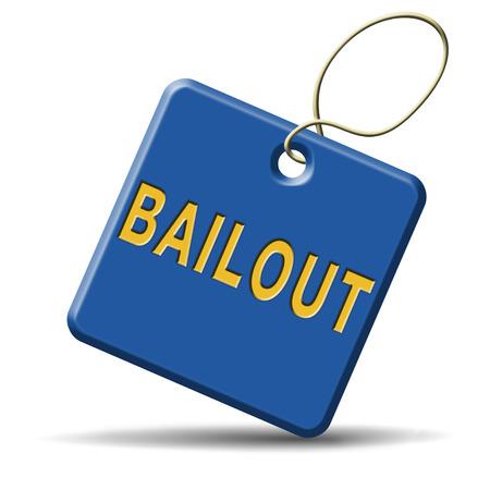 rescate o de crisis económica la quiebra financiera y la recesión signo icono o botón Foto de archivo