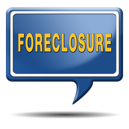 repossession: foreclosure auction notice mortgage house loan paying money costs back to bank to avoid foreclosures and repossession problems icon sign or banner