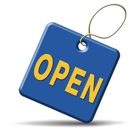 open teken aangeeft openingstijden van de winkel Stockfoto