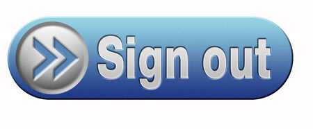 sign out button or user or member logout blue banner photo