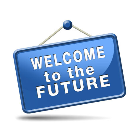 brigth: welcome to the future having a bright future ahead planning a happy future having a good plan button icon  Stock Photo