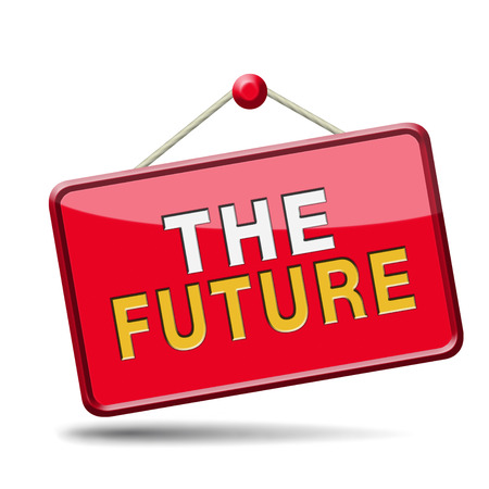 bright future ahead planning a happy future having a good plan button icon with text and word concept photo