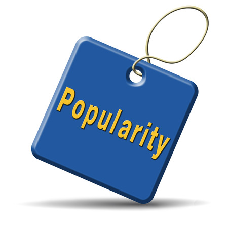 popularity fame and famous label or icon for bestseller or market leader and top product or rating in the charts photo