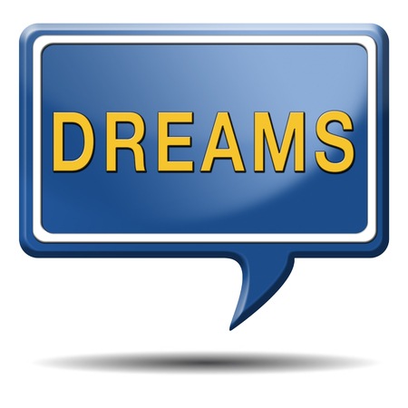dreams realize and make your dream come true be successful and accomplish your goals button or icon with text and word concept photo