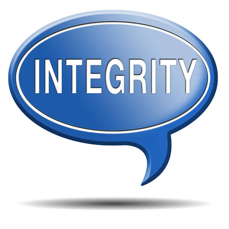 integrity authentic and honest and reliable guidance integrity button integrity icon trust with text and word concept Stock Photo - 23545284