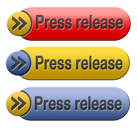 release: press release wtih breaking hot and latest news items button or icon Stock Photo