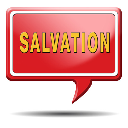 protection of the bible: salvation follow jesus and god to be rescued save your soul icon button with text and word