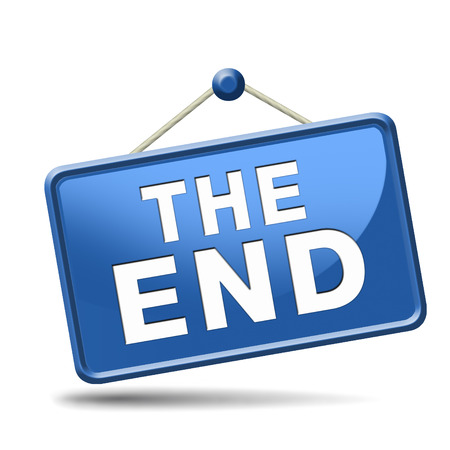 last year: the end icon or sign to finish point way out