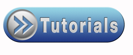 tutorials: tutorials learn online video lesson, blue button banner or icon Stock Photo