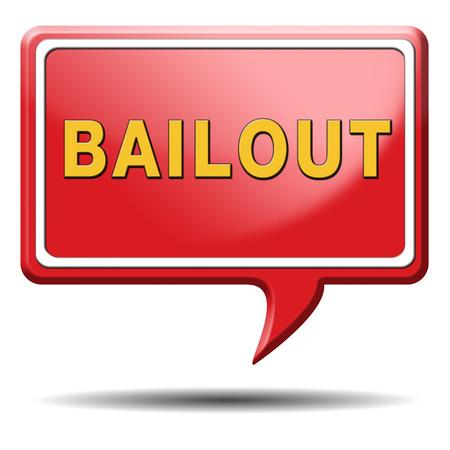 rescate o quiebra crisis económica y la recesión financiera icono de la muestra o el botón Foto de archivo