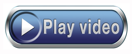 button: Video play clip or watch movie online or in live stream, multimedia button banner or icon