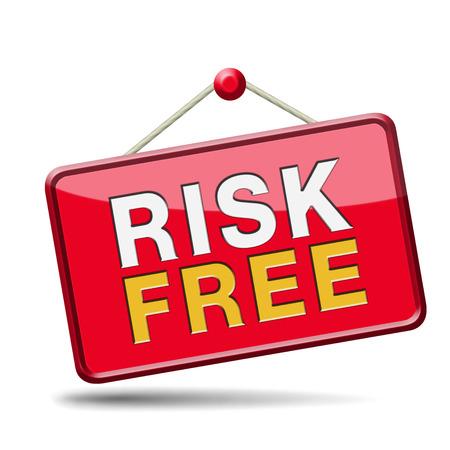safe investments: risk free al 100% di soddisfazione di alta qualit� del prodotto garantita investimento sicuro garanzia web shop alcuna icona segno rischi o la sicurezza in primo striscione Archivio Fotografico