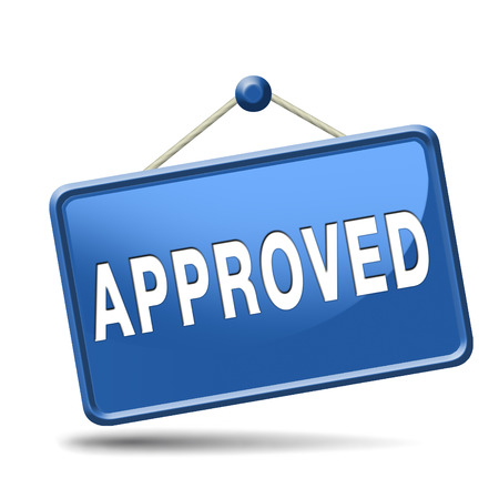 passed test: approved passed test and access granted approval and accepted accredited button or icon Stock Photo