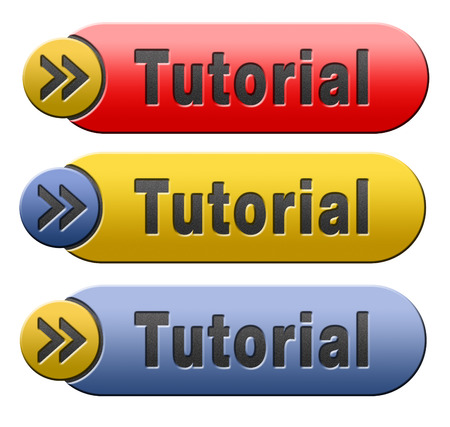 tutorial learn online video lesson, red yellow and blue button banner or icon photo