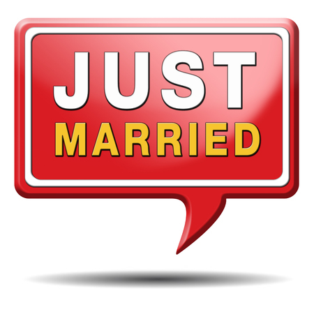 just married button icon sign or sticker marriage card or date photo