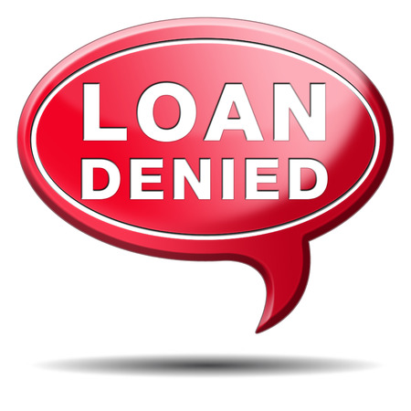 loaning: loan denied icon or button loaning money for car house education or mortgage