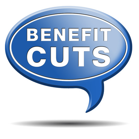 public welfare: Benefit cuts tax cut on housing child and social works reduce spending Stock Photo