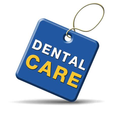 higiene bucal: atenci�n dental la higiene bucal o la cirug�a para los dientes sanos y sin caries pero con un icono de la sonrisa hermosa con el texto Foto de archivo