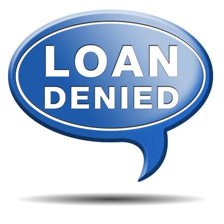 loan denied icon or button loaning money for car house education or mortgage photo